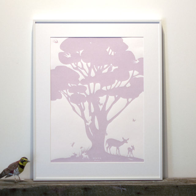 Binth Woodland Family Tree Poster, Lavender