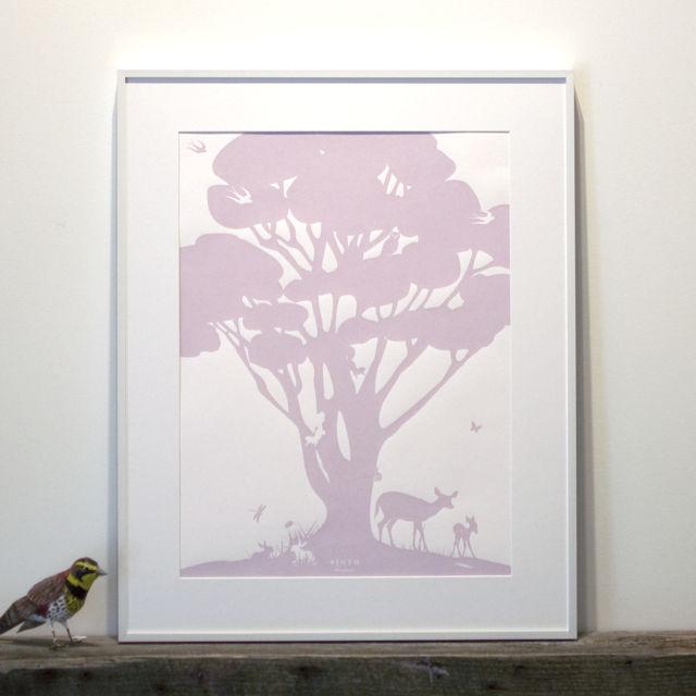 Binth Woodland Family Tree Poster, Lavender