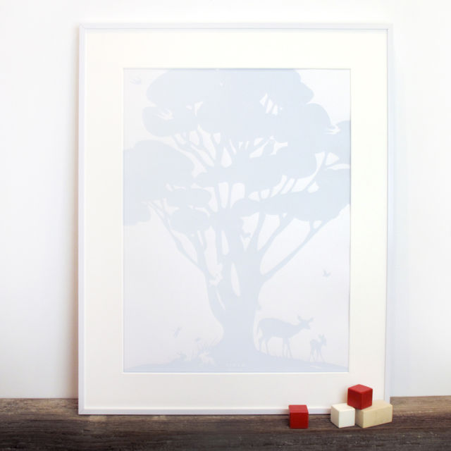Binth Woodland Family Tree Poster, Sky Blue