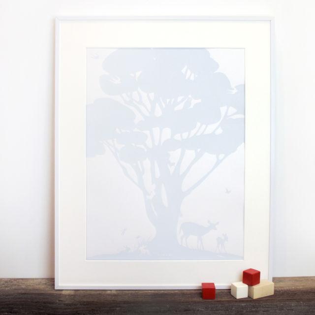 Binth Woodland Family Tree Poster, Sky Blue