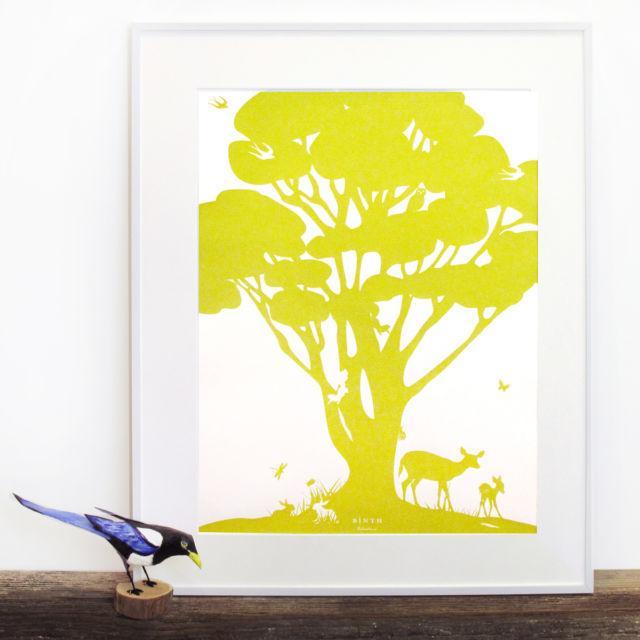 Binth Woodland Family Tree Poster, Tree Green
