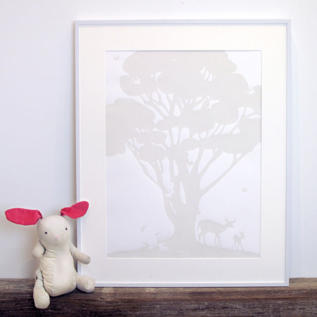 Binth Woodland Family Tree Poster, Pebblestone Gray